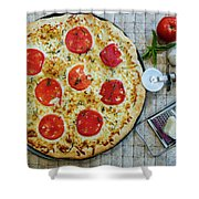 Margarita Pizza With Ingredients Shower Curtain