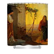 Maria Sister Of Lazarus Meets Jesus Who Is Going To Their House Shower Curtain