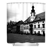 Maribor Square Black And White Shower Curtain