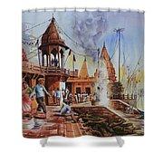 Marikarnika Ghat Varanasi Shower Curtain