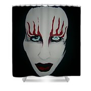 Face Black White Red Shower Curtain