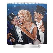 Marilyn Monroe Marries Charlie Mccarthy Shower Curtain