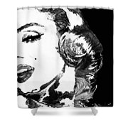 Marilyn Monroe Painting - Bombshell Black And White - By Sharon Cummings Shower Curtain