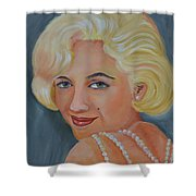 Marilyn Monroe With Pearls Shower Curtain