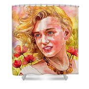 Marilyn Monroe With Poppies Shower Curtain