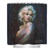 Marilyn Romantic Ww Dark Blue Shower Curtain