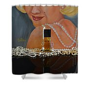 Marilyn With Chanel And Pearls Shower Curtain