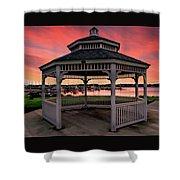 Marina Gazebo Sunset Shower Curtain