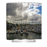 Marina In Olympia Washington Waterfront Shower Curtain