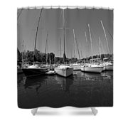 Marina On Lake Murray S C Black And White Shower Curtain
