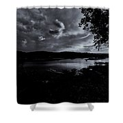 Marina Sunset Black And White Shower Curtain