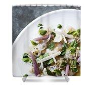 Marinated Tuna Vegetable And Herb Salad Shower Curtain