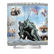 Marine Corps Art Academy Commemoration Oil Painting By Todd Krasovetz Shower Curtain