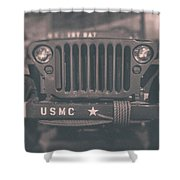 Marine Corps Jeep In Black And White Shower Curtain