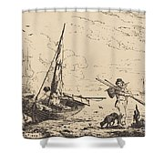 Marine: Fishing Boats On Shore, Man With Oars, Ship In Distance Shower Curtain