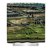 Mariners Point Golf Center In Foster City, California Aerial Photo Shower Curtain