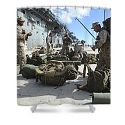 Marines Move Gear During An Embarkation Shower Curtain