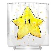 Mario Invincibility Star Watercolor Shower Curtain