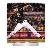 Mark Melancon Baseball Shower Curtain