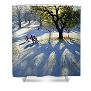 Markeaton Park Early Snow Shower Curtain