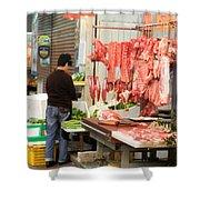 Market Butchery Hong Kong Shower Curtain