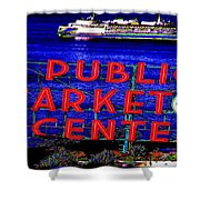 Market Clock And Ferry  Shower Curtain