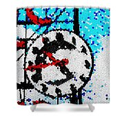 Market Clock Mosaic Shower Curtain