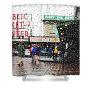 Market In Rain J005 Shower Curtain