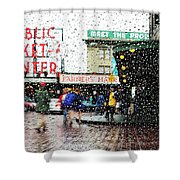 Market In Rain J005 Shower Curtain