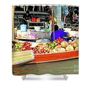 Market In Thailand Shower Curtain