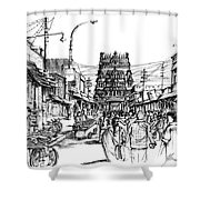 Market Place - Urban Life Outside Temple India Shower Curtain