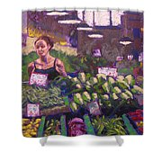 Market Veggie Vendor Shower Curtain