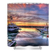 Marlin Quay Marina At Sunset Shower Curtain