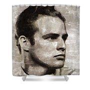 Marlon Brando, Vintage Actor Shower Curtain