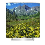 210403-v-maroon Bells And Sunflowers  Shower Curtain