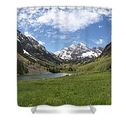 Maroon Bells Trail Panorama Shower Curtain