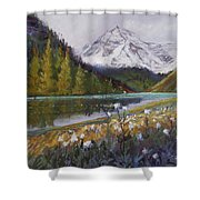 Maroon Lake Shower Curtain