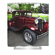 Maroon Vintage Car Shower Curtain