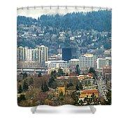 Marquam Bridge By Portland City Skyline Panorama Shower Curtain