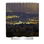 Marquam Hill And Portland Bridges At Night Shower Curtain