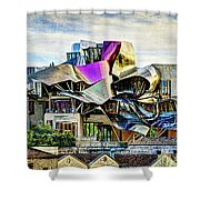 marques de riscal Hotel at sunset - frank gehry - vintage version Shower Curtain