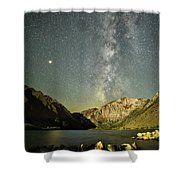 Mars And The Milky Way Shower Curtain