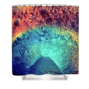 Mars Crater Surface Colorful Painting Shower Curtain