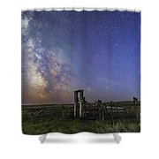 Mars, Saturn & Milky Way Over Ranch Shower Curtain