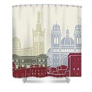 Marseille Skyline Poster Shower Curtain