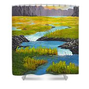 Marsh River Original Painting Shower Curtain