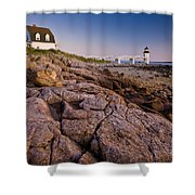 Marshal Point Light Sunset Shower Curtain by Susan Cole Kelly