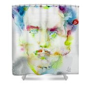 Marshall Mcluhan - Watercolor Portrait Shower Curtain