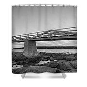 Marshall Point Light Sunset Bw Shower Curtain