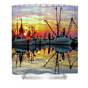Marshallberg Harbor Sunset Shower Curtain